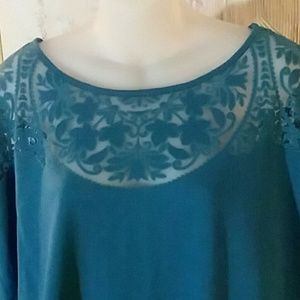 Teal top with style 3x plus size